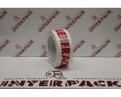 Nastro Acrilico Bianco Silenzioso 28 My H. 50 Mm X 132 Con Stampa Interna Logo Fragile Colore Rosso