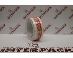Nastro Acrilco Bianco Silenzioso 28 My H.50 Mm X 132 Con Stampa Interna Logo Sigillo Di Garanzia Colore Rosso 4 Lingue